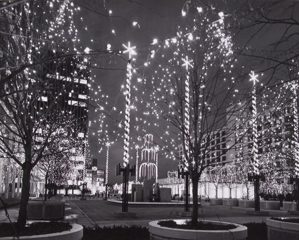Christmas lights at Constitution Plaza.