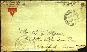 """Soldiers letter"" sent by Ellsworth Hawkes to Ben Myers. Ms 101842"