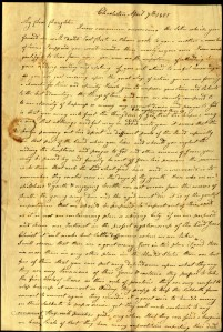 Daniel Betts' letter to his daughter Julia, April 7, 1821. Ms 101843