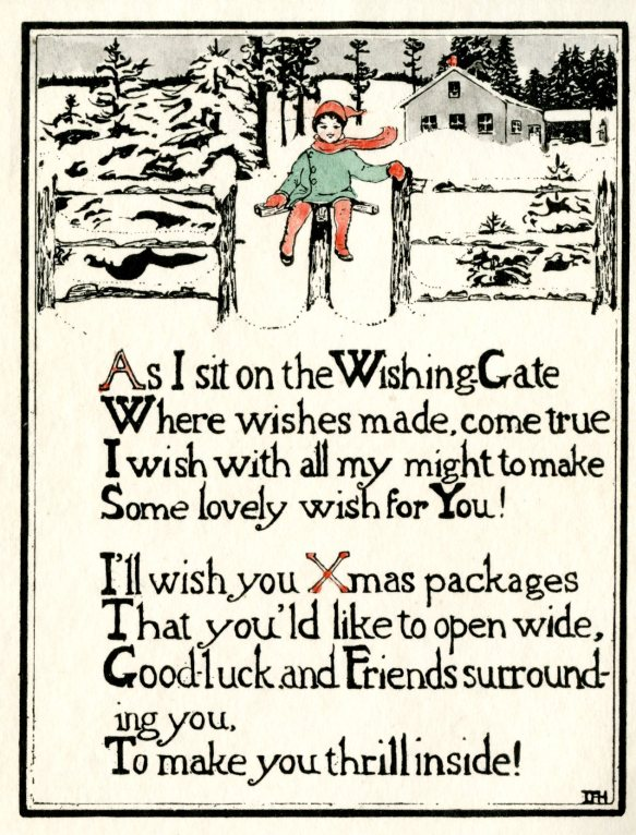 Holiday card designed by Hartford artist Dorothy Hapgood (1892-1973), ca.1940s. Though afflicted with cerebral palsy Hapgood led a full, active life pursuing her passion for art. CHS Library Ephemera Collection