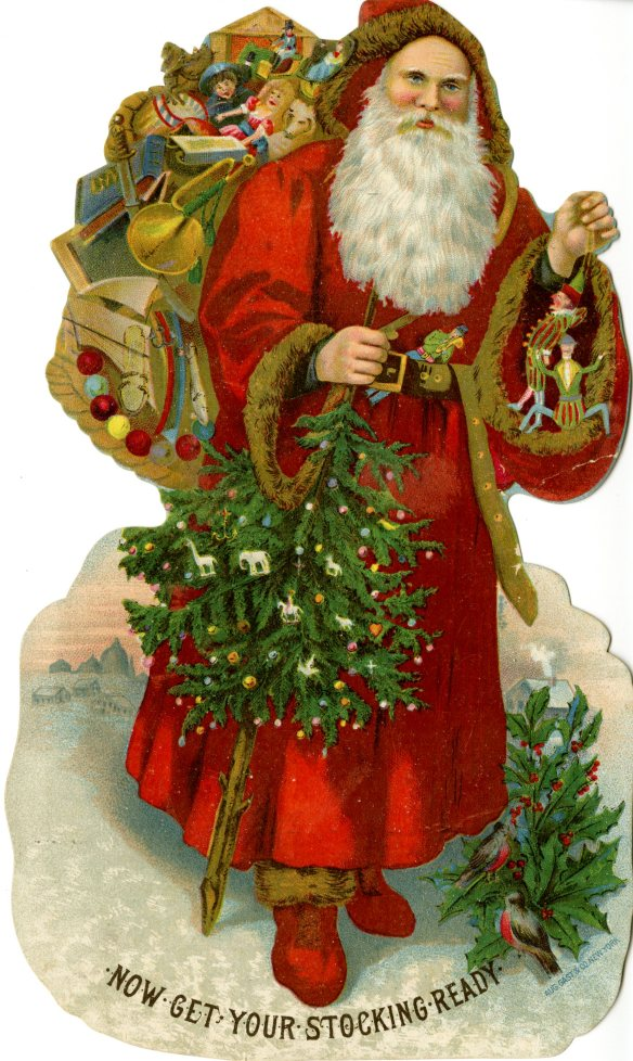 A traditional Saint Nicholas graces this chromolithographed card from the 1880s that was distributed by a Southington jeweler to his customers. CHS Library Ephemera Collection
