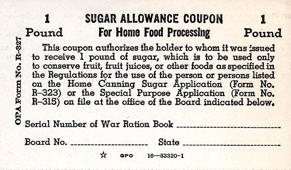 Sugar Allowance Coupon, CHS Collection