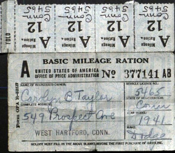 Mileage ration, CHS Collection