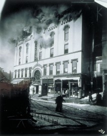 Allyn Hall fire, 180 Asylum Street, Hartford, 26 February 1914. Connecticut Historical Society collections.