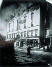 Allyn Hall fire, 180 Asylum Street, Hartford, 26 February 1914. Connecticut Historical Society collections.