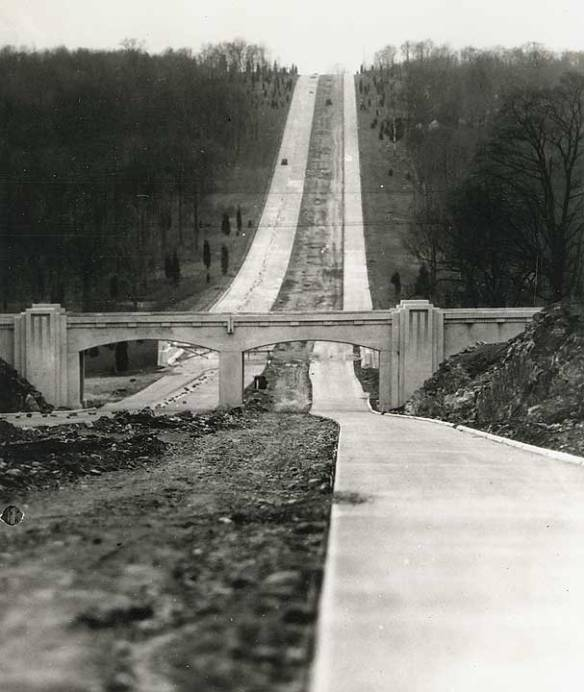 Merritt Parkway bridge and road construction, 1930s.