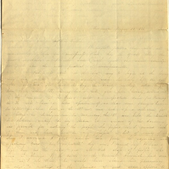 Letter from Charlotte Cowles dated January 25, 1836.