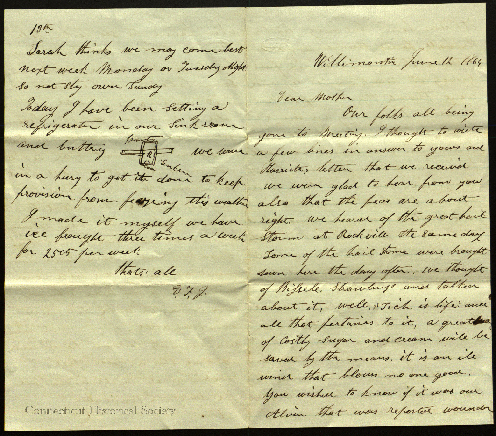 First and last page of the letter written by D.F. Johnson. Ms 101848