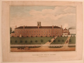 The state prison at Wethersfield, opened in 1827, was patterned after the fortress-like Auburn State Prison in New York. Lithograph by D. W. Kellogg, 1840 CHS 1840.13.4