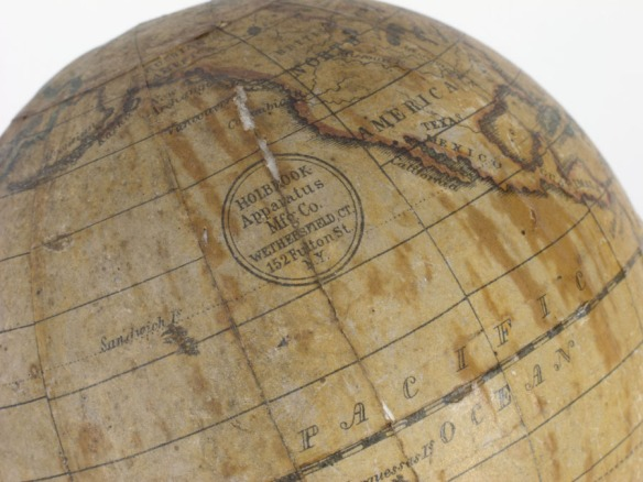 Holbrook label from one of the classroom globes, mid-1850s. CHS 1981.42.7