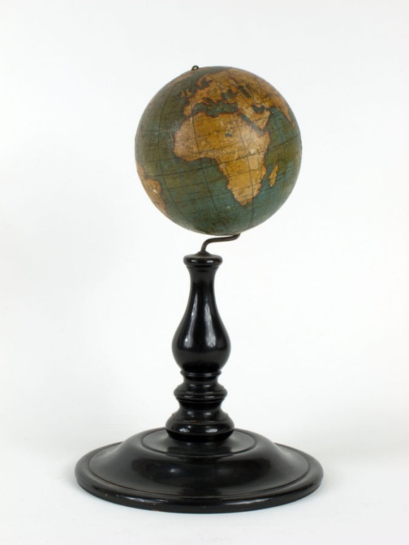 Colored classroom globe manufactured by Holbrook Apparatus Mfg. Co., mid-1850s. Inmates from the local state prison in Wethersfield provided much of the labor. CHS 1984.119.0