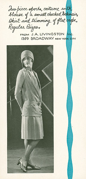 "Insert from ""A Summer Sports Wear Idea"" packet, prepared by the Cheney Brothers Silk Manufacturing Company of Manchester to promote their ""Debonair"" sports fabric, 1930s. Reproduced from the original in the CHS collection."