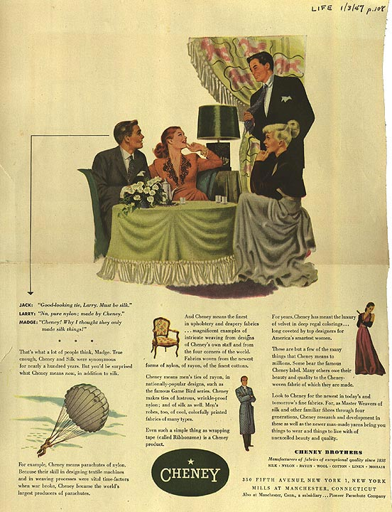 LIFE Magazine advertisement for Cheney silk & rayon, Manchester, 1947