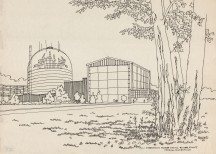 A bucolic scene. With his unique line drawings, Connecticut artist Richard Welling could make anything look poetic, from highway construction in Hartford to a nuclear plant in Haddam Neck. Put your mind at ease and plan to visit our new exhibition of Richard Welling's work, opening in the fall of 2014.