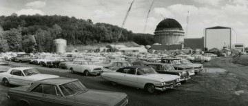 Connecticut Yankee reactor containment building under construction. A valuable historical record if only for the '64 Mustang.