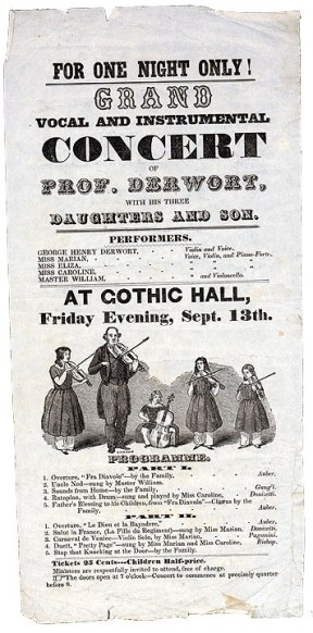 Poster for vocal and instrument concert, Waterbury, 1840s. Reproduced from the original in the CHS collection.