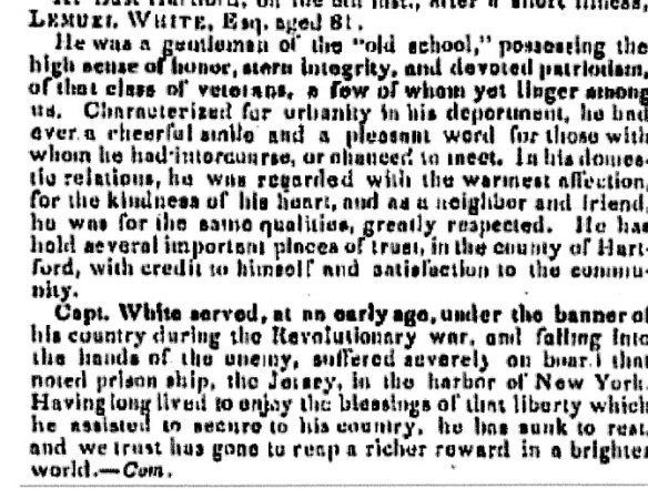 Lemuel White's December 1843 obituary dwelled on his wartime sacrifices rather than his later seafaring career.