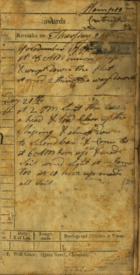 This page from one of White's logbooks, dated October 1794, records time and weather data at Whampoa, the main anchorage for western ships trading at Canton. CHS MS 34629