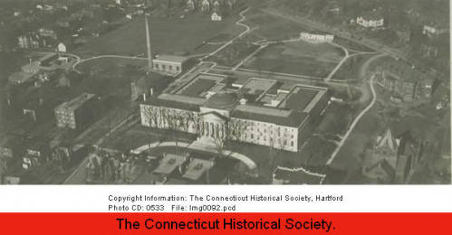 Aerial view of The Hartford's main building on Asylum Street in Hartford.