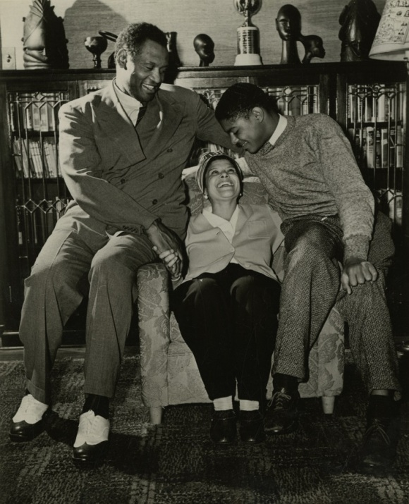 Paul Robeson and family at home in Enfield, CT, ca. 1950.