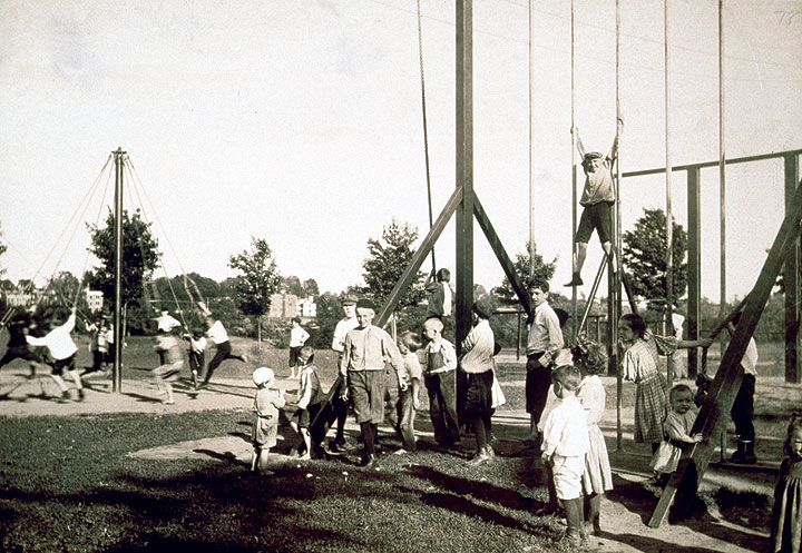 Children playing in outdoor gymnasium, Pope Park, Hartford, 1908, gift of Horace B. Clark. Reproduced from the originals in the CHS collection.