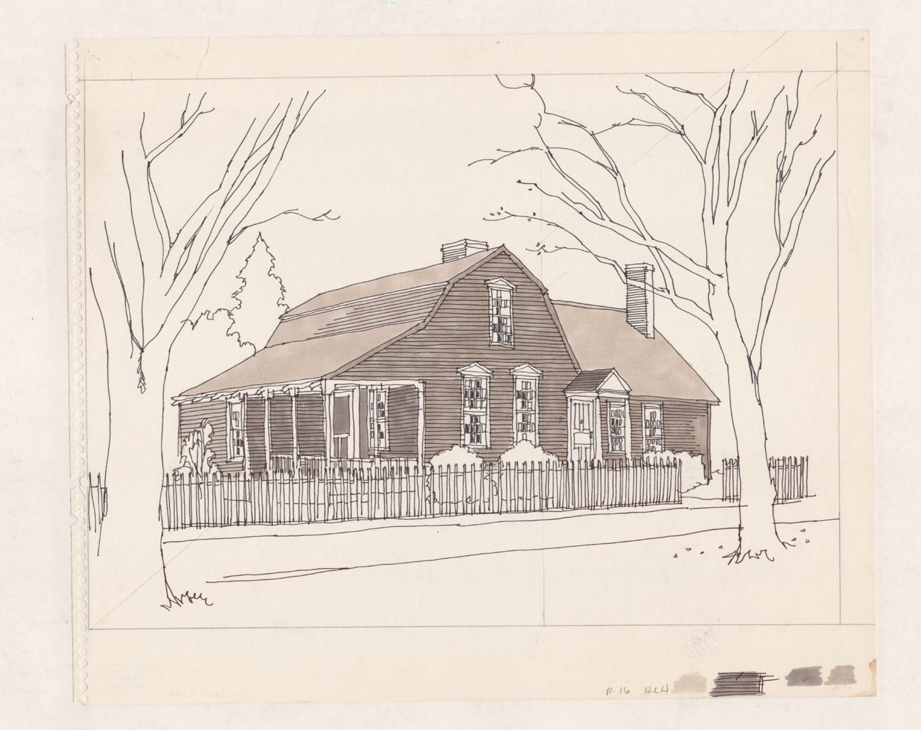 Preliminary drawing for The Lieut. Walter Fyler House, Windsor.  Black ink and brown wash on paper, 1976.  The Connecticut Historical Society, Gift of the Richard Welling Family, 2012.284.5289