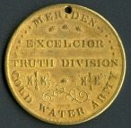 This brass membership token was issued by the Meriden chapter of the Cold Water Army in the 1840s. CHS 2014.52.0