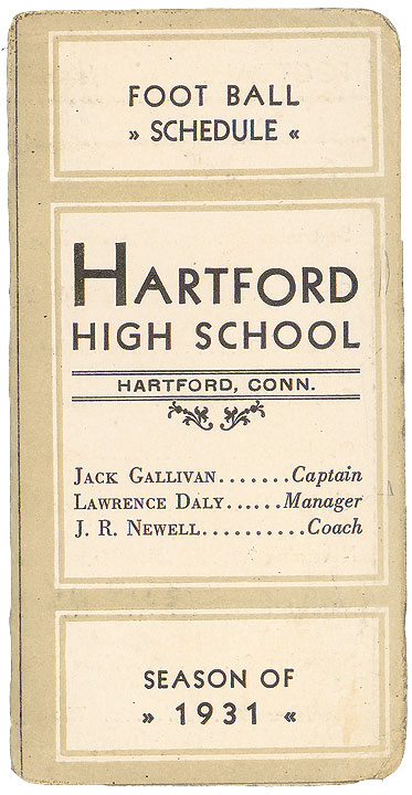 Schedule for the Hartford High School football team, Hartford, 1931.Reproduced from the originals in the CHS collection.
