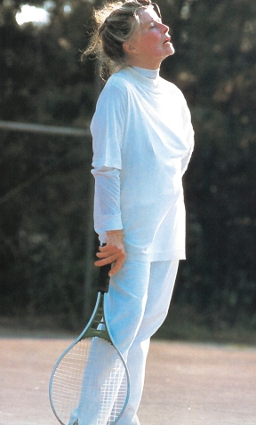 Hepburn was active and competitive throughout her life - here she is playing tennis. Photo by John Bryson