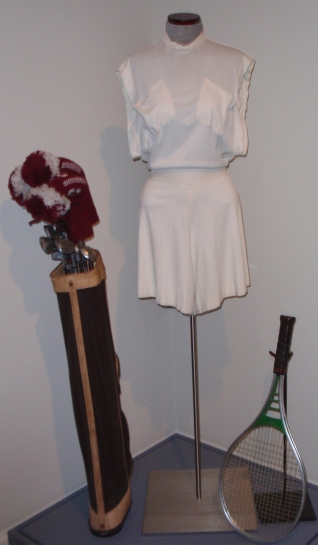 Hepburn's tennis dress from the 1930s, and the golf clubs and racket she used in the 1970s are in CHS's collection and on view in the exhibition. CHS collection, The Newman S. Hungerford Museum Fund