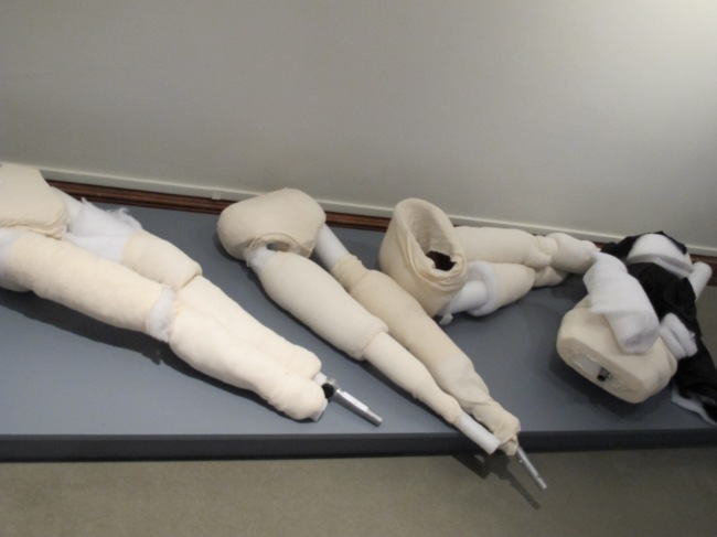 Some mannequins waiting to be dressed for the Katharine Hepburn: Dressed for Stage and Screen exhibit at the Connecticut Historical Society