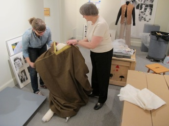 Jean Druesedow, Kent State University Museum, and CHS's Karen DePauw dressing a mannequin