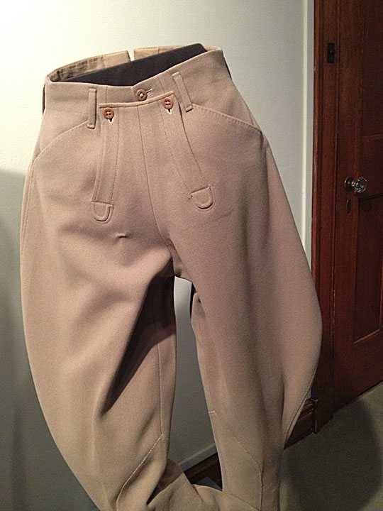 Beige slacks worn by Katharine Hepburn, KSUM 2010.12.105, Gift of the Estate of Katharine Hepburn