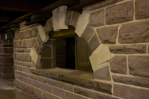The brownstone and granite masonry in the basement originated at the Heublein Hotel and the YMCA in Hartford (and other, unidentified buildings in Hartford and Rockville).