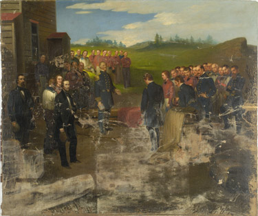 American naval personnel from the USS Niagara brought the cable ashore at the western terminal at Trinity Bay, Newfoundland in August 1858. A partially conserved painting by George W. Flagg depicted the scene for posterity. CHS 1919.2.0