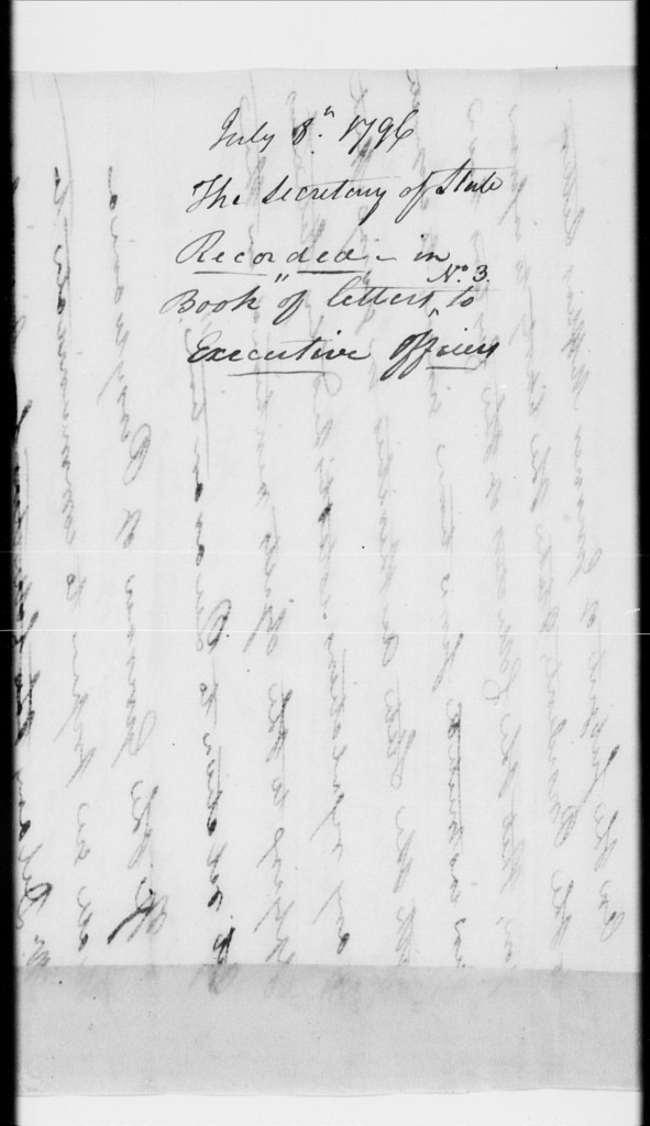Docketing on the back of a draft letter by Oliver Wolcott Jr.