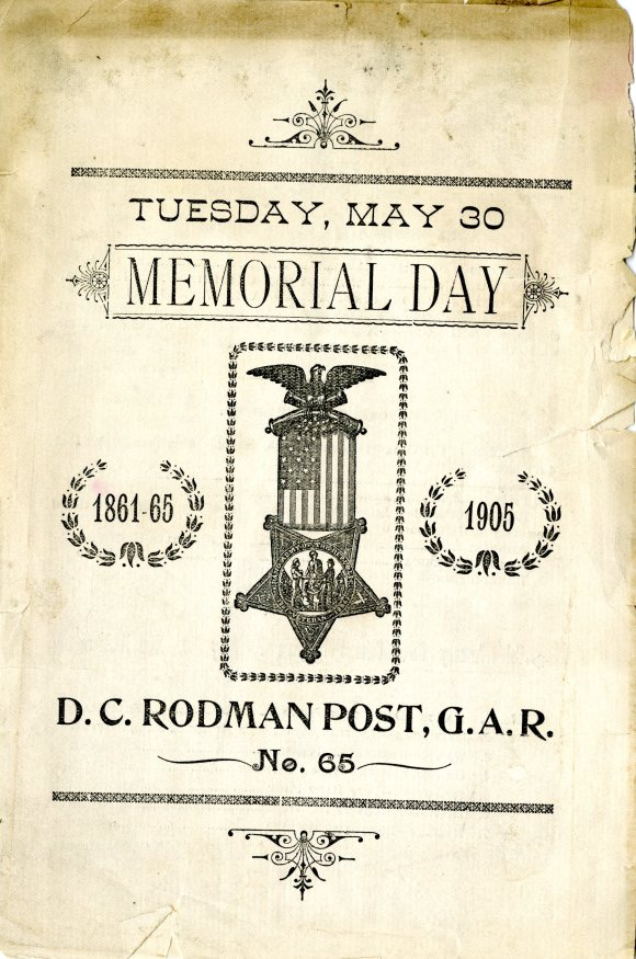 Cover of a Memorial Day program organized by the GAR in East Hartford, 1905