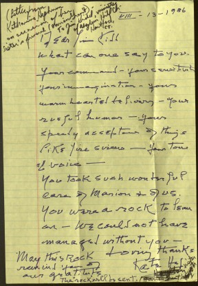 Letter from Katharine Hepburn to Reverend James Kidd of Hartford, 1986. Ms 101868