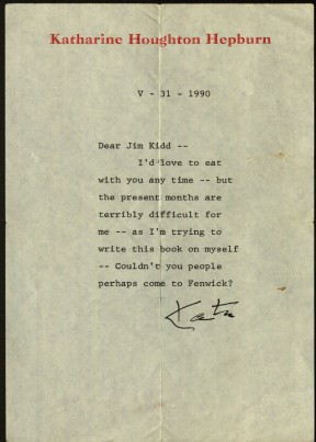 Letter from Katharine Hepburn to Reverend James Kidd, 1991. Ms 101868