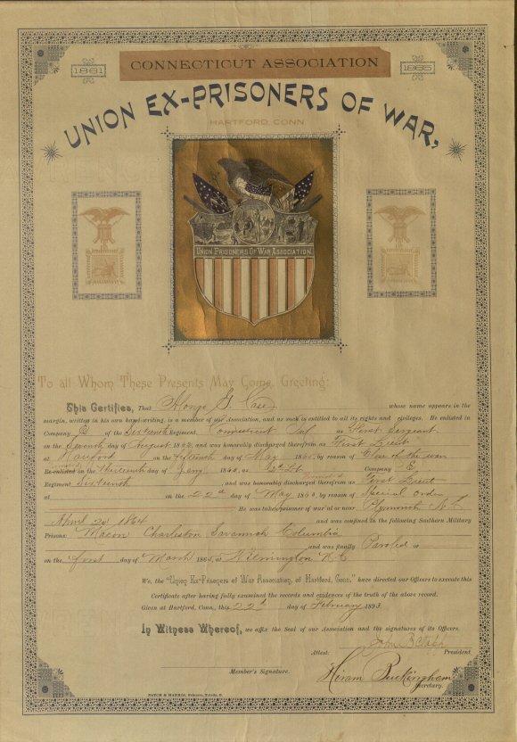 Union Ex-Prisoners of War certificate to Alonzo Case, 1893. Ms 101875