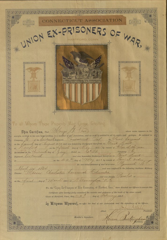 Union Ex-Prisoners of War certificate to Alonzo Case, 1893. Ms 101875