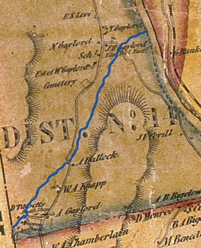 A detail of an 1853 map of New Milford shows the brook (highlighted in blue) flowing between the hills, but not its twenty-nine letter name. CHS 1949.21.0