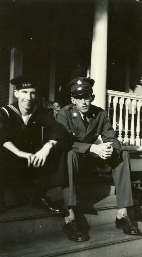 "A brief wartime reunion between brothers Francis and Bill Malley on ""our"" front porch, Thompsonville, 1943."