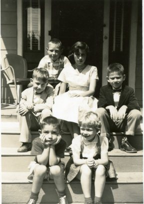 "Malley cousins on ""our"" front porch steps, Thompsonville, 1956."