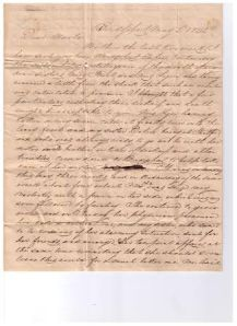 Letter from Joseph Thompson to his uncle Isaac Thompson, 1842. Ms 101872