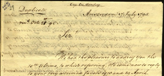 "In the upper left, you can see the word ""Duplicate"". The letter was ""mailed"" July 1795 and did not arrive until October."