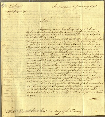 Three copies of this letter were sent to the Treasury Department.