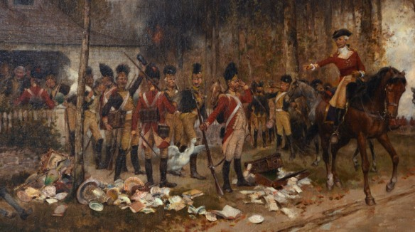The Hessian troops depicted in this painting suggest a New Jersey or mid-Atlantic setting. CHS 1930.5.0 (detail)