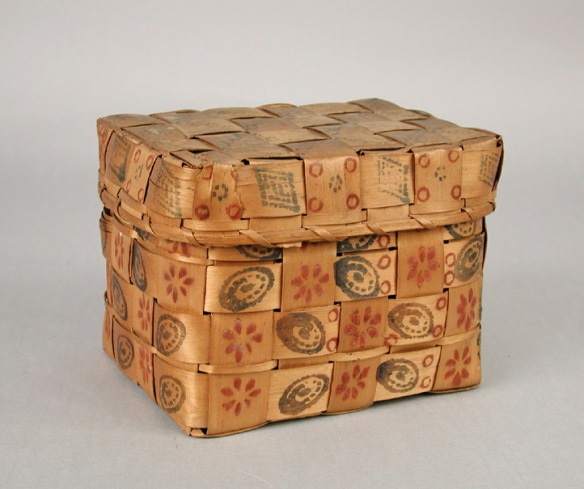 Mohegan Miniature Covered Basket. 1840-1860. 1950.450.0a,b.