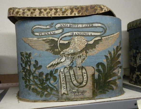 This ca. 1823 bandbox was made in Hartford by the firm of Putnam & Roff, which also manufactured wallpaper. CHS 1956.45.63